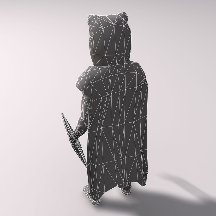 Düşük Poli Bear savaşçısı royalty-free 3d model - Preview no. 10