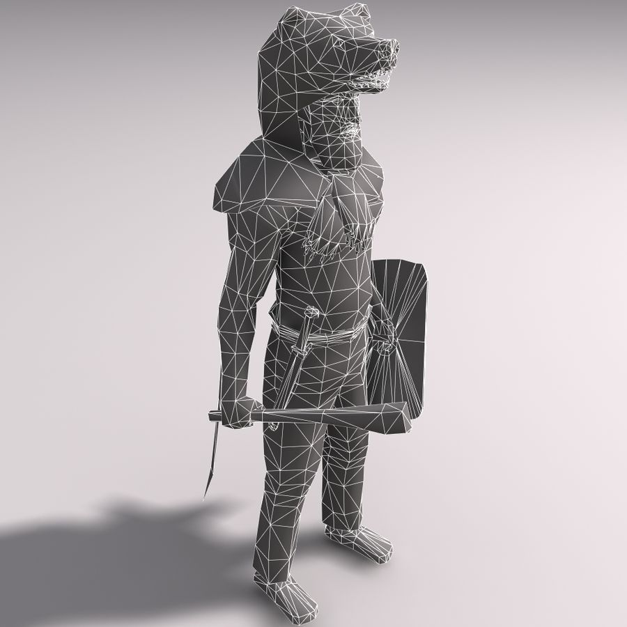 Düşük Poli Bear savaşçısı royalty-free 3d model - Preview no. 11