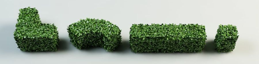 hedge topiary bush royalty-free 3d model - Preview no. 5