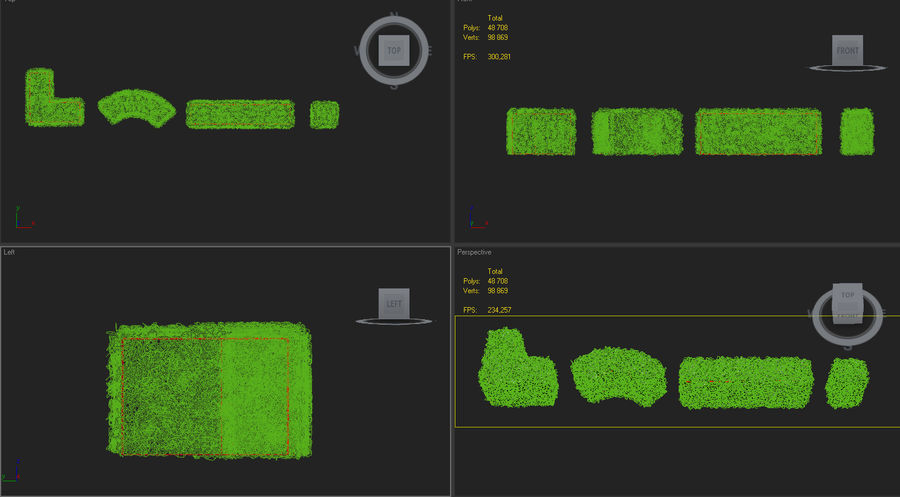 hedge topiary bush royalty-free 3d model - Preview no. 6