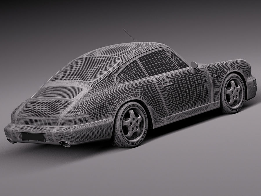 Porsche 911 964 Carrera 1990 royalty-free 3d model - Preview no. 20