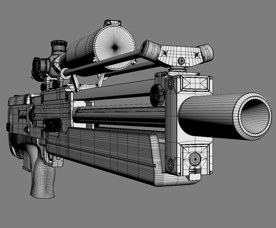 Walther WA2000 No Materials royalty-free 3d model - Preview no. 10
