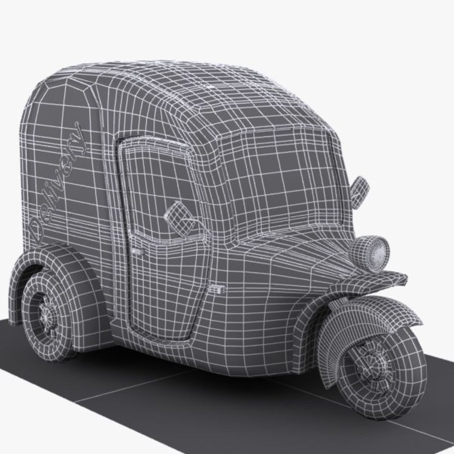 Samochód Trójkołowy Cartoon royalty-free 3d model - Preview no. 8