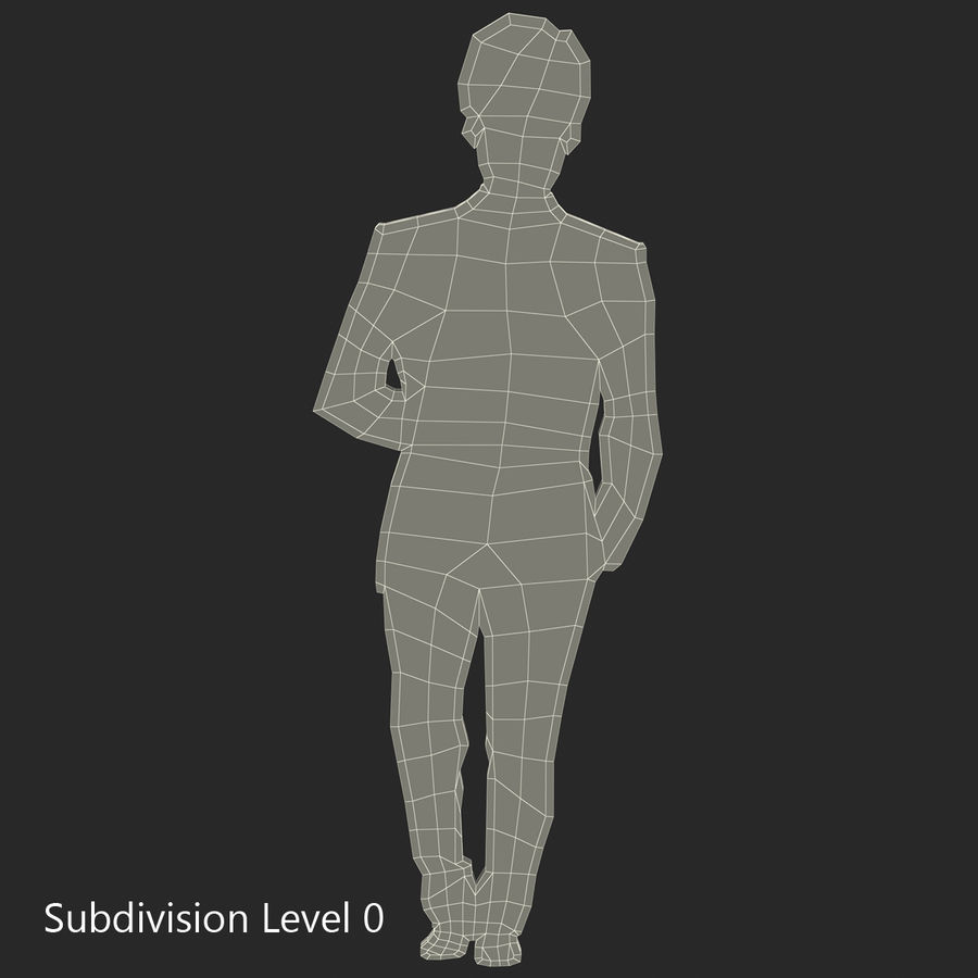 Man in a Suit Silhouette royalty-free 3d model - Preview no. 7