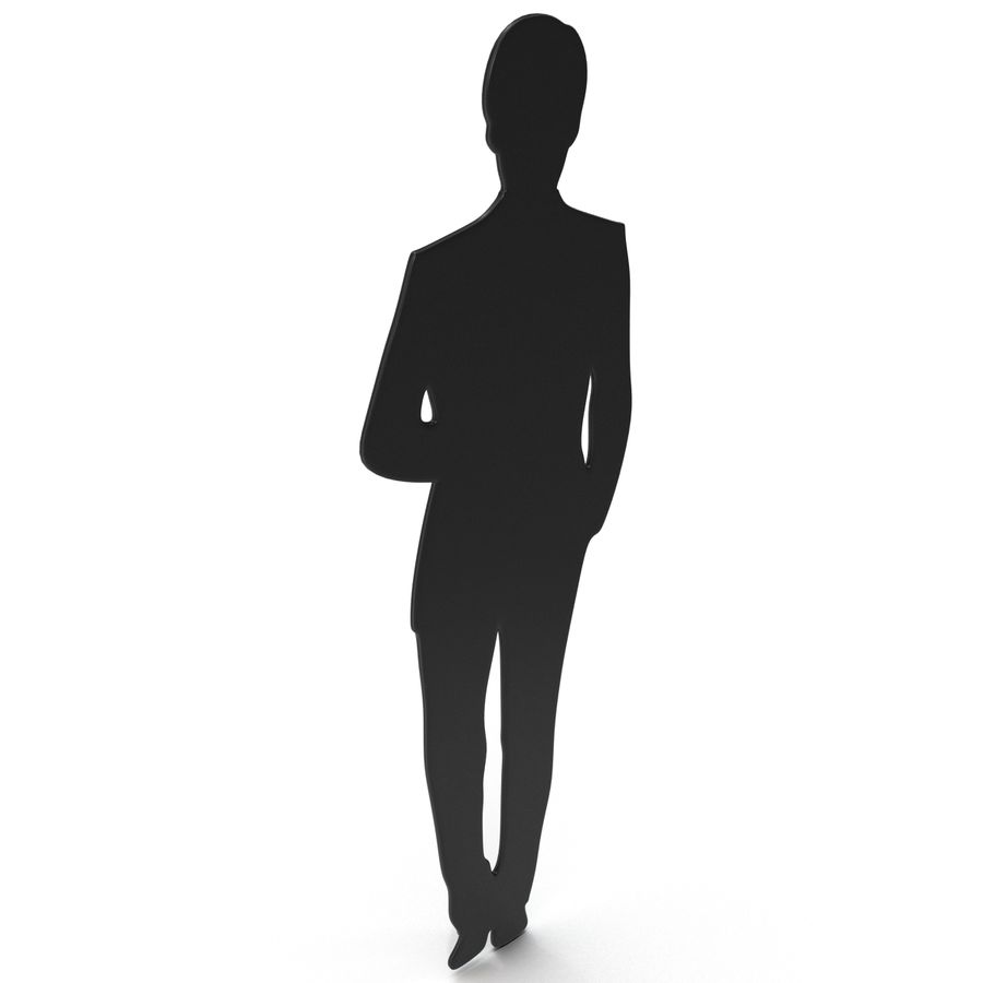 Man in a Suit Silhouette royalty-free 3d model - Preview no. 6