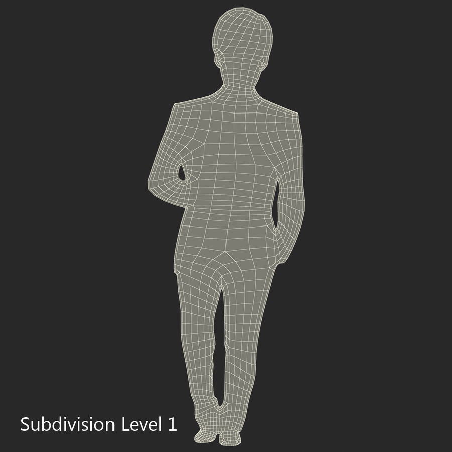 Man in a Suit Silhouette royalty-free 3d model - Preview no. 8