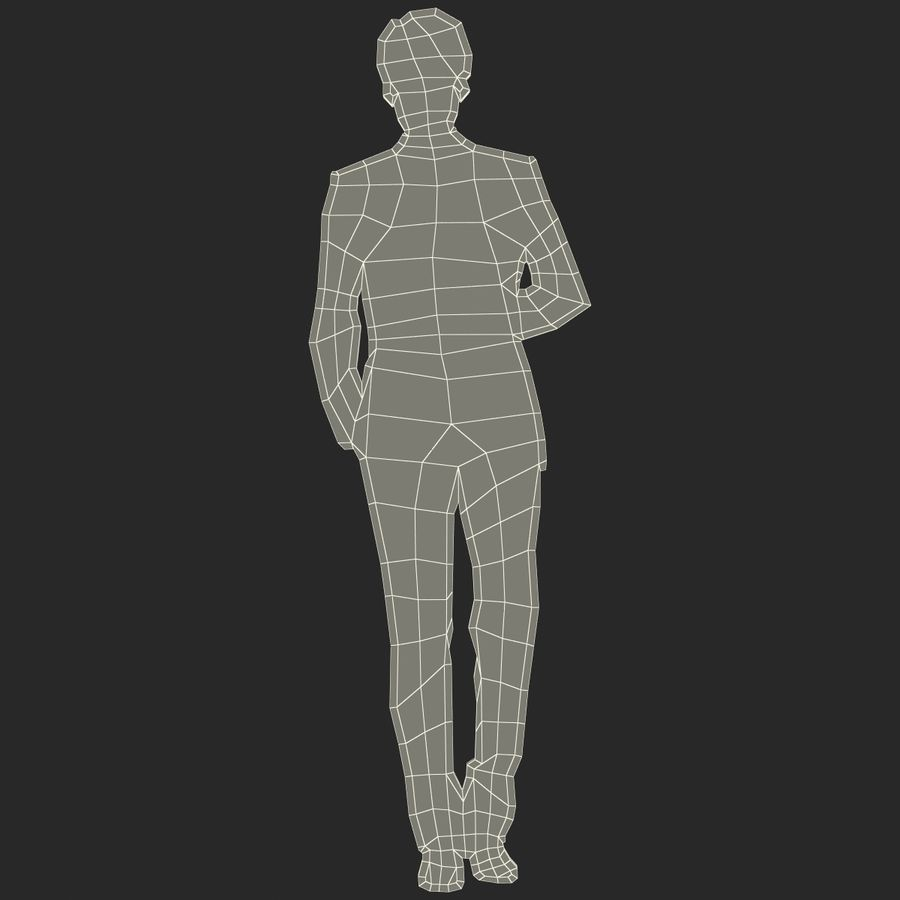 Man in a Suit Silhouette royalty-free 3d model - Preview no. 12