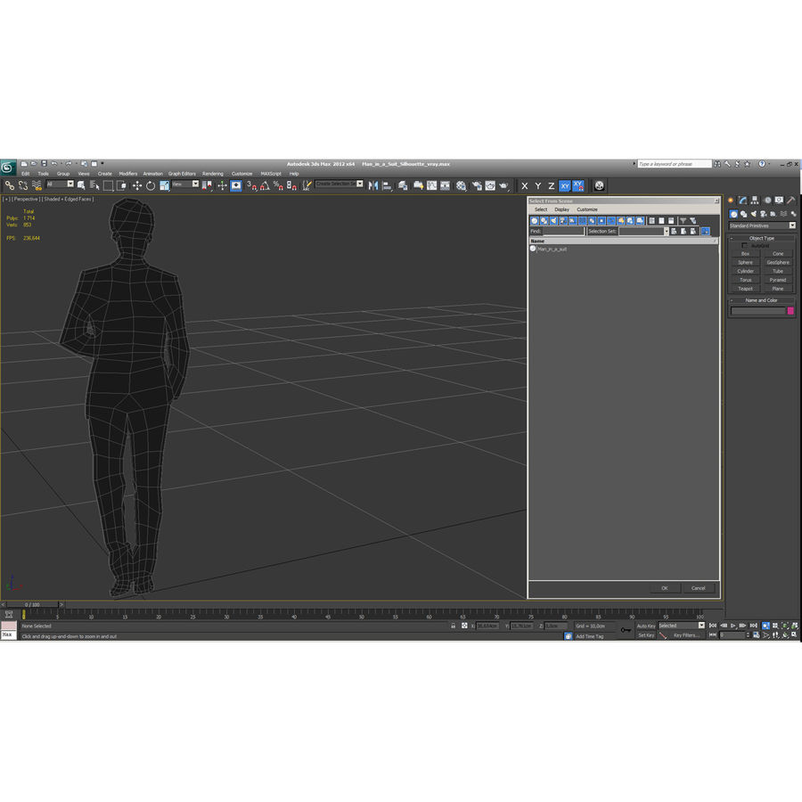 Man in a Suit Silhouette royalty-free 3d model - Preview no. 9
