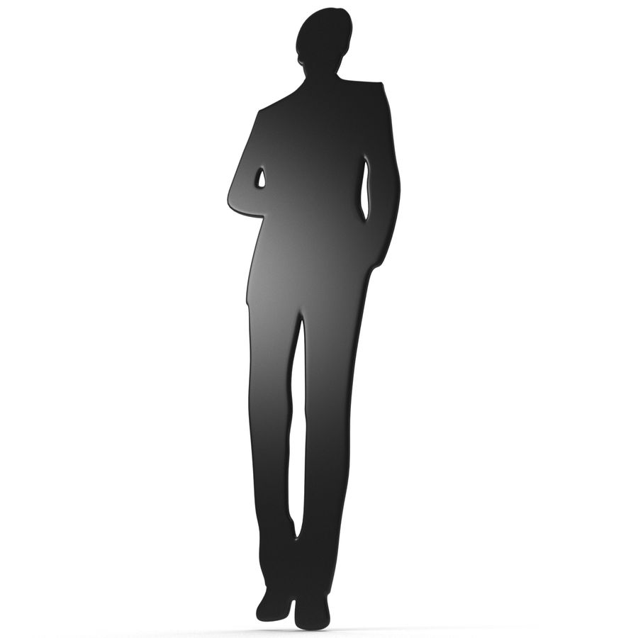 Man in a Suit Silhouette royalty-free 3d model - Preview no. 10
