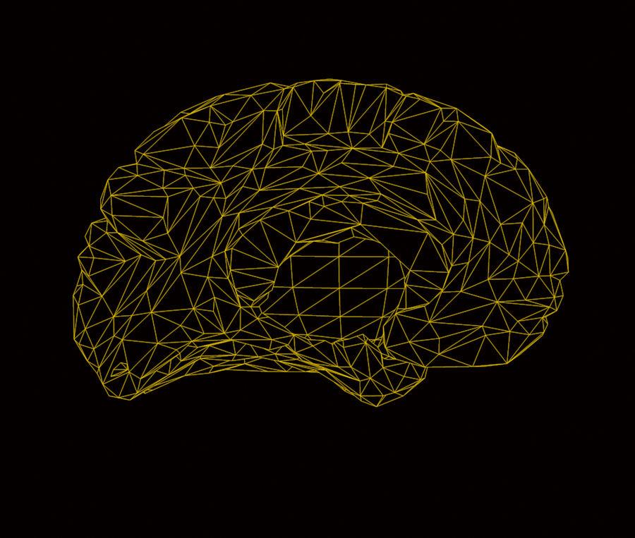 Halv hjärnstruktur texturerad royalty-free 3d model - Preview no. 8