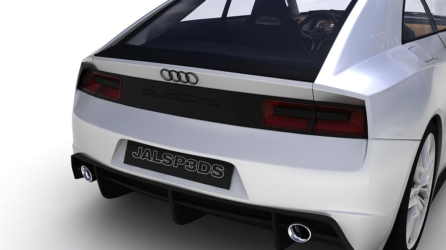 Концепт-купе Audi Quattro (2010) royalty-free 3d model - Preview no. 12