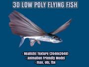 Flying Fish Realistic Low Poly Model (Exocoetidae) 3d model