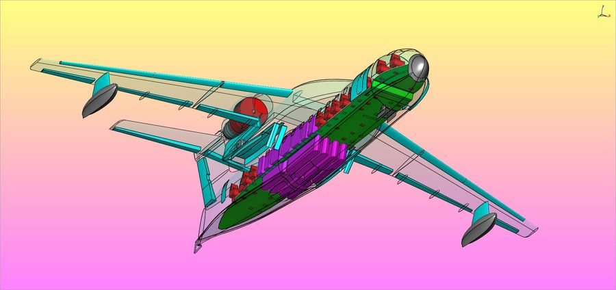Beriev Be-200 Amphibious Aircraft Solid Assembly Model royalty-free 3d model - Preview no. 20