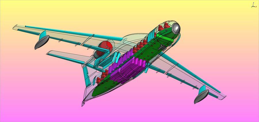 Model bryłowego samolotu amfibijnego Beriev Be-200 royalty-free 3d model - Preview no. 20