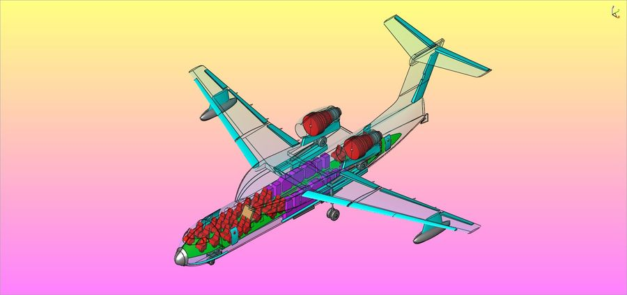 Beriev Be-200 Amphibious Aircraft Solid Assembly Model royalty-free 3d model - Preview no. 19