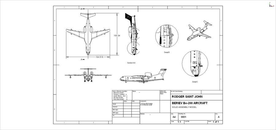 Model bryłowego samolotu amfibijnego Beriev Be-200 royalty-free 3d model - Preview no. 14