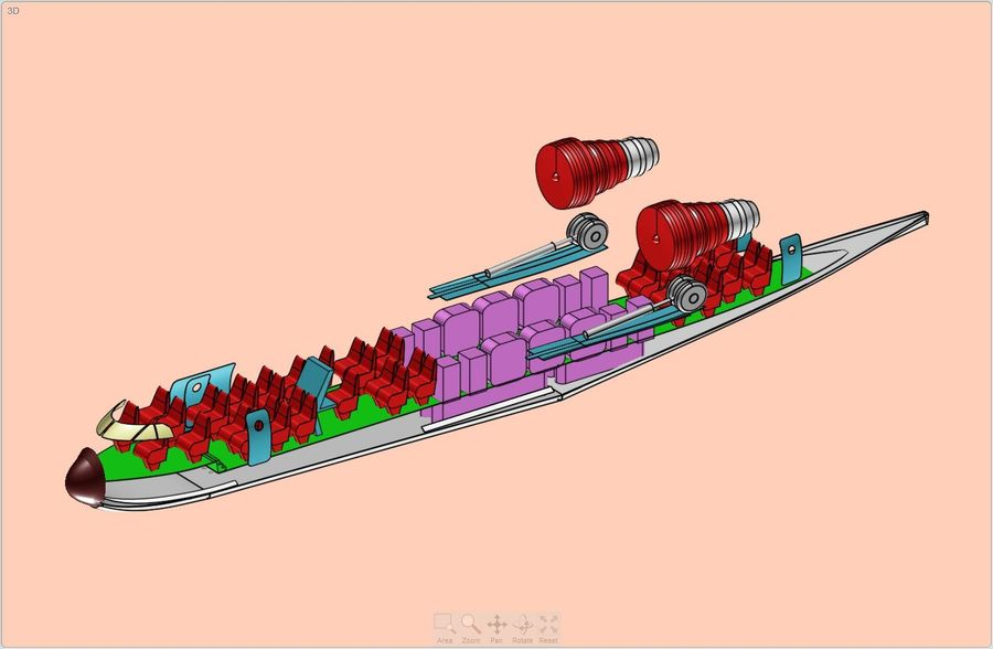 Beriev Be-200 Amphibious Aircraft Solid Assembly Model royalty-free 3d model - Preview no. 13