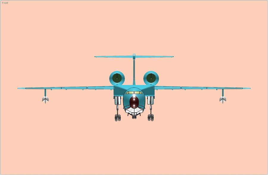 Model bryłowego samolotu amfibijnego Beriev Be-200 royalty-free 3d model - Preview no. 3