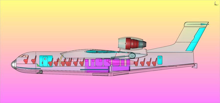 Beriev Be-200 Amphibious Aircraft Solid Assembly Model royalty-free 3d model - Preview no. 21