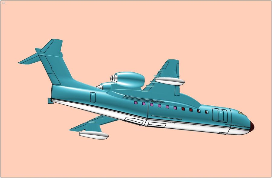 Beriev Be-200 Amphibious Aircraft Solid Assembly Model royalty-free 3d model - Preview no. 11