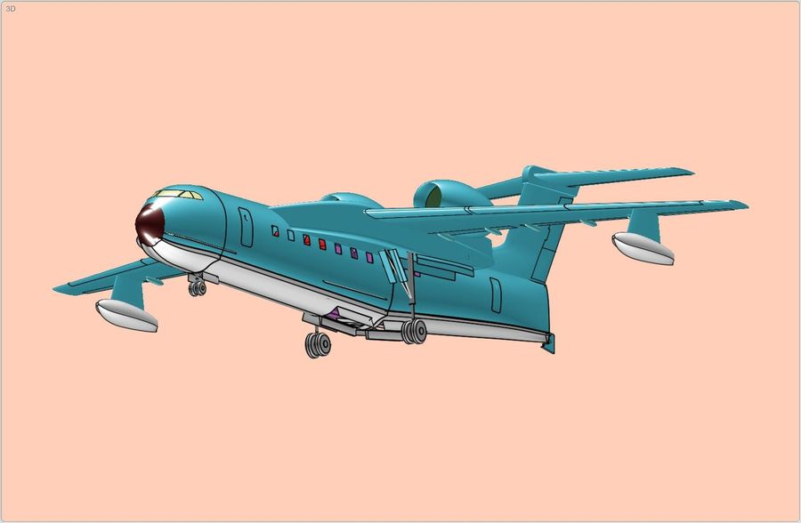 Model bryłowego samolotu amfibijnego Beriev Be-200 royalty-free 3d model - Preview no. 7