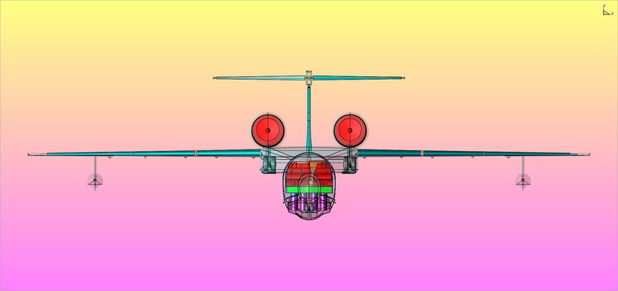 Beriev Be-200 Amphibious Aircraft Solid Assembly Model royalty-free 3d model - Preview no. 23