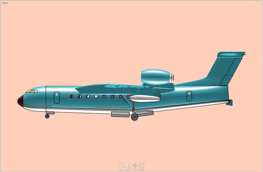Beriev Be-200 Amphibious Aircraft Solid Assembly Model royalty-free 3d model - Preview no. 4