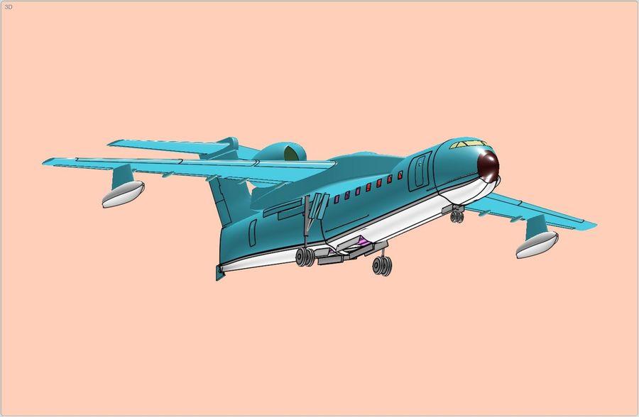 Model bryłowego samolotu amfibijnego Beriev Be-200 royalty-free 3d model - Preview no. 2