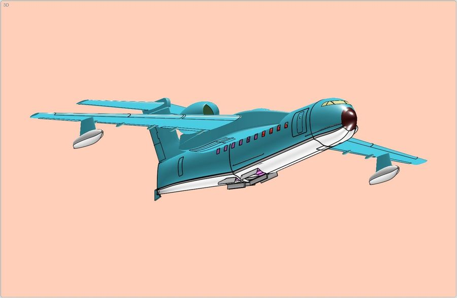 Beriev Be-200 Amphibious Aircraft Solid Assembly Model royalty-free 3d model - Preview no. 1