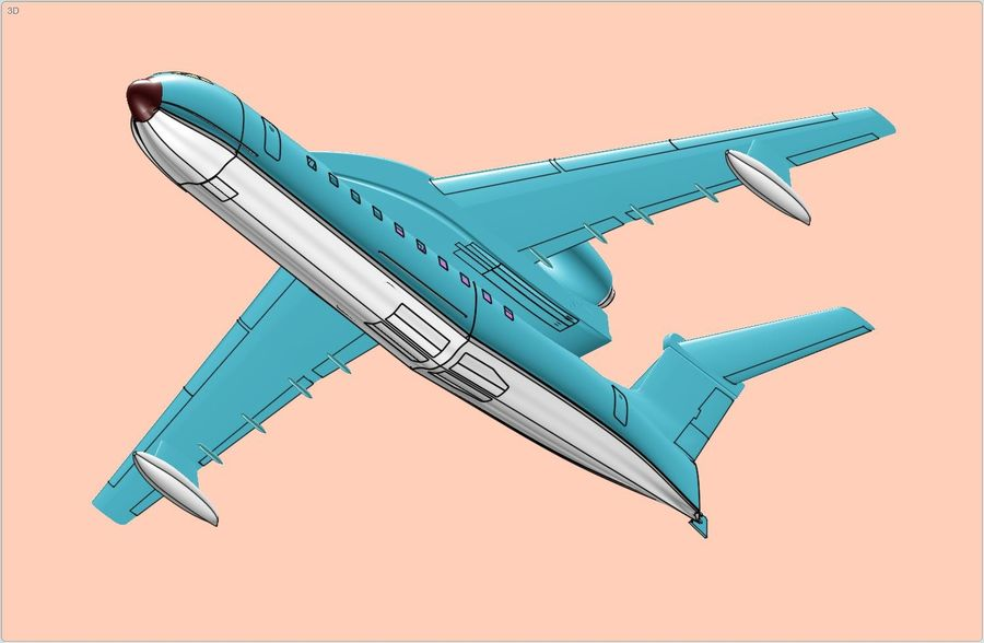 Beriev Be-200 Amphibious Aircraft Solid Assembly Model royalty-free 3d model - Preview no. 10