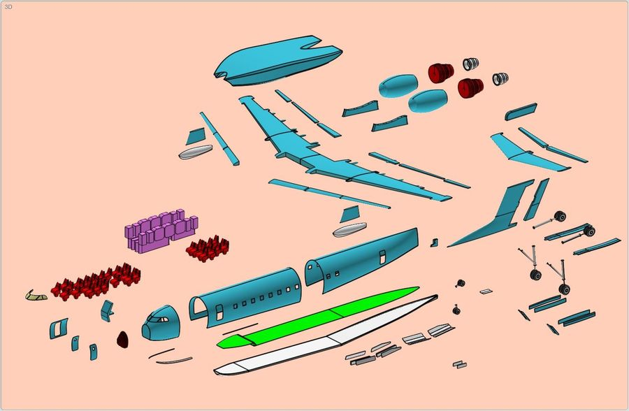 Beriev Be-200 Amphibious Aircraft Solid Assembly Model royalty-free 3d model - Preview no. 18
