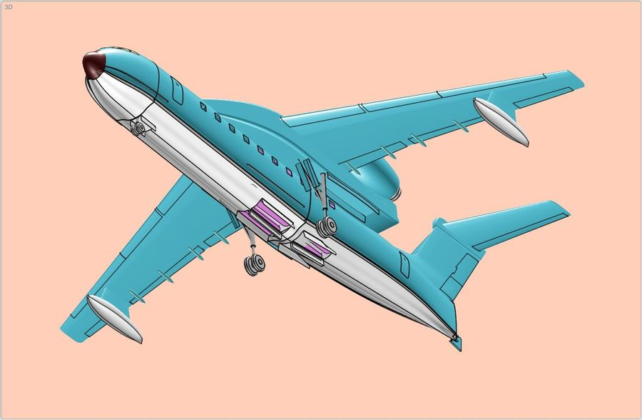 Beriev Be-200 Amphibious Aircraft Solid Assembly Model royalty-free 3d model - Preview no. 8