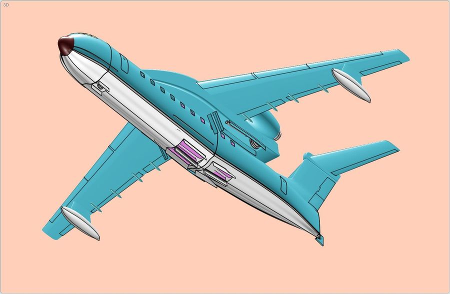 Beriev Be-200 Amphibious Aircraft Solid Assembly Model royalty-free 3d model - Preview no. 9