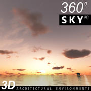 Céu 3D pôr do sol 042 3d model