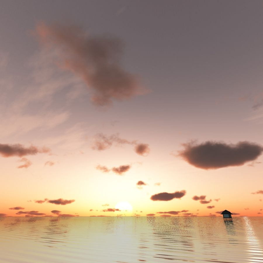 Sky 3D Sunset 042 royalty-free 3d model - Preview no. 3