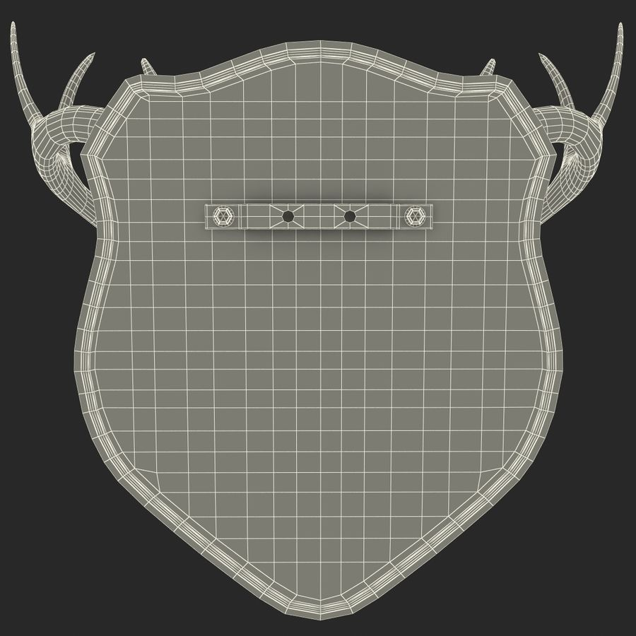 Mounted Deer Antlers royalty-free 3d model - Preview no. 15