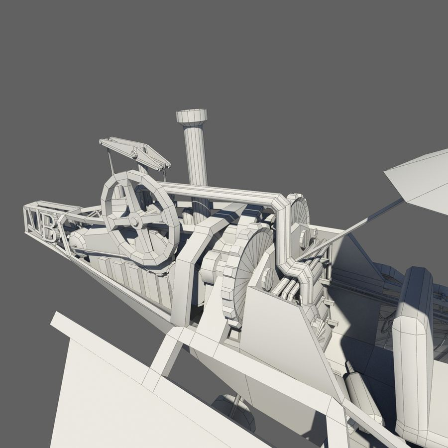 Ornitóptero Steampunk royalty-free 3d model - Preview no. 10