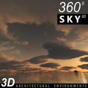 Ciel 3d coucher de soleil 018 3d model