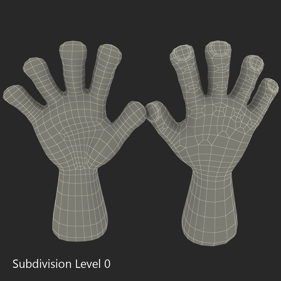 Cartoon Hand royalty-free 3d model - Preview no. 8