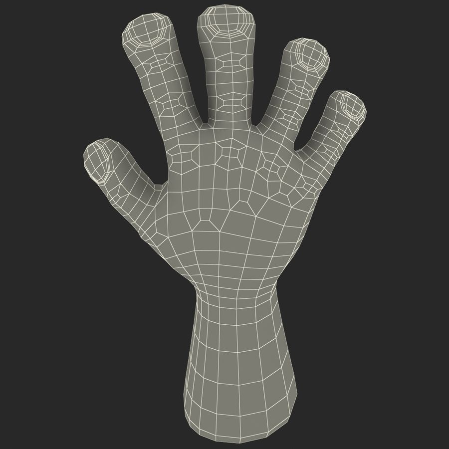 Cartoon Hand royalty-free 3d model - Preview no. 16