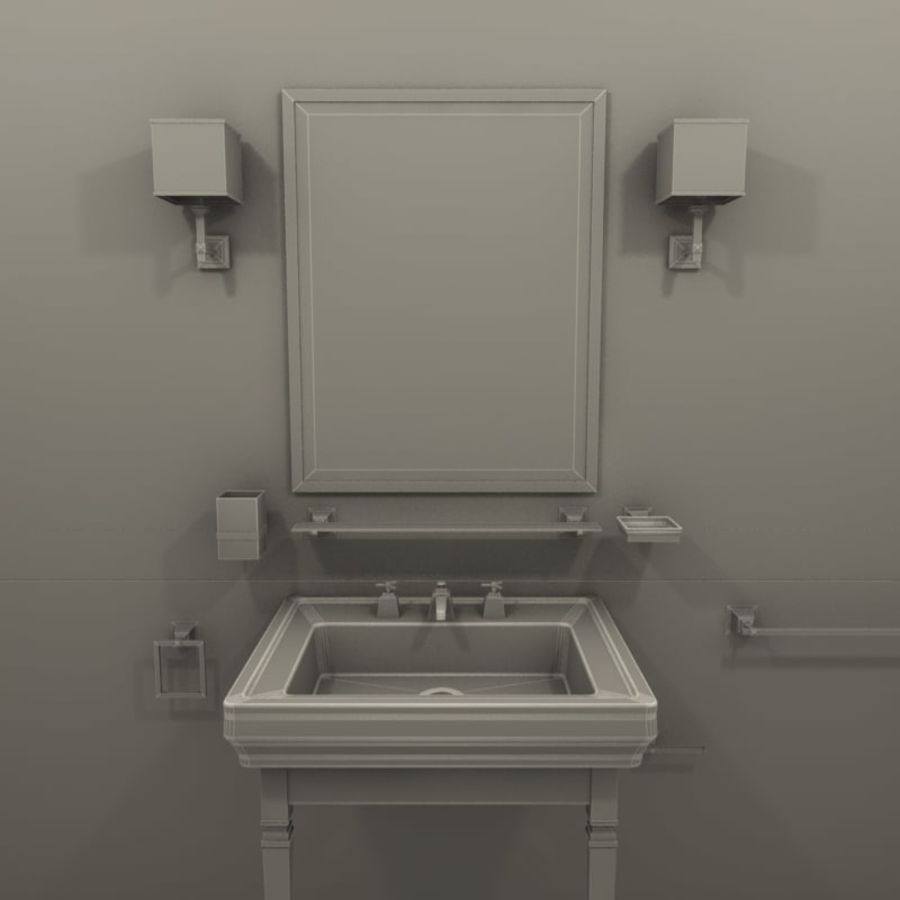 Badezimmermöbel und -einrichtungen royalty-free 3d model - Preview no. 6
