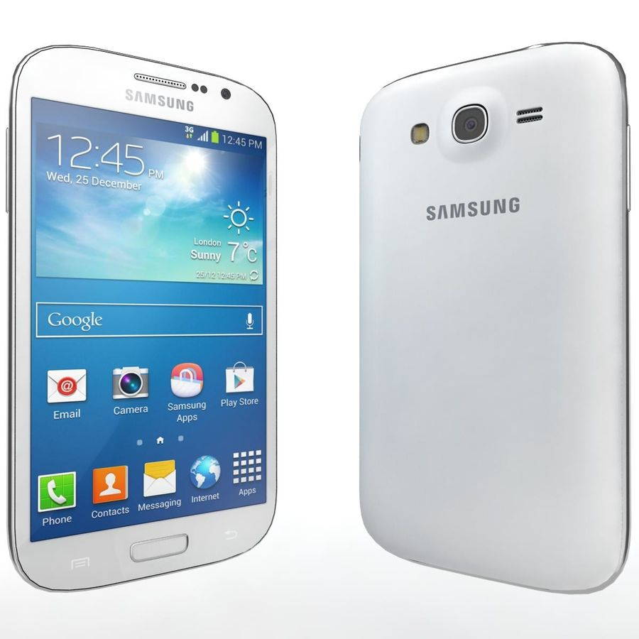 Sumsung Galaxy Grand Neo White royalty-free 3d model - Preview no. 3