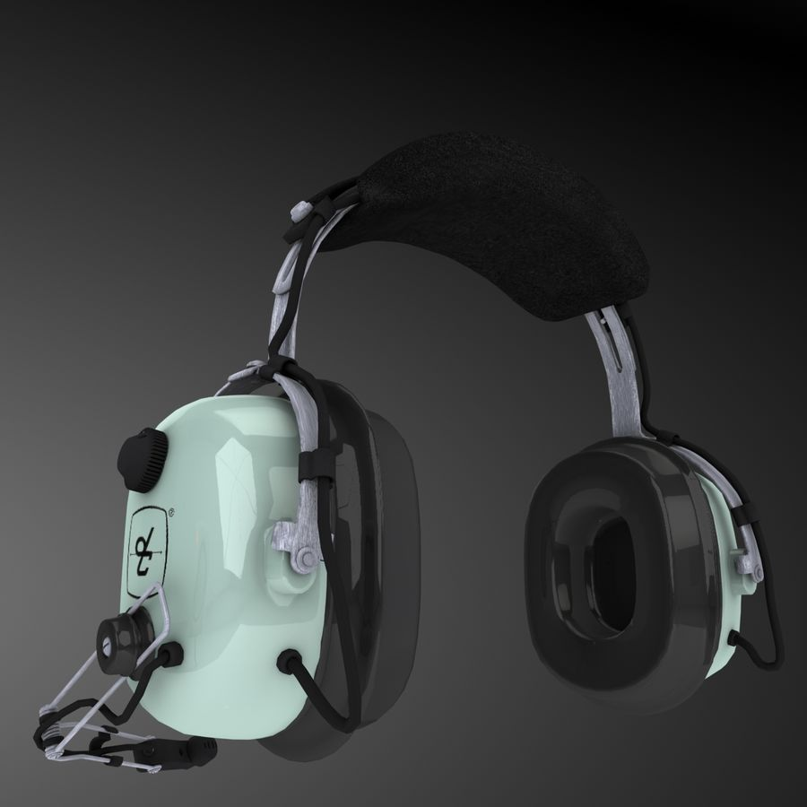 David Clark H10-36 Pilots headset royalty-free 3d model - Preview no. 5