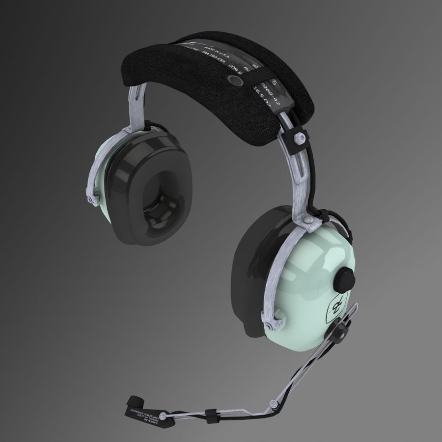 David Clark H10-36 Pilots headset royalty-free 3d model - Preview no. 1