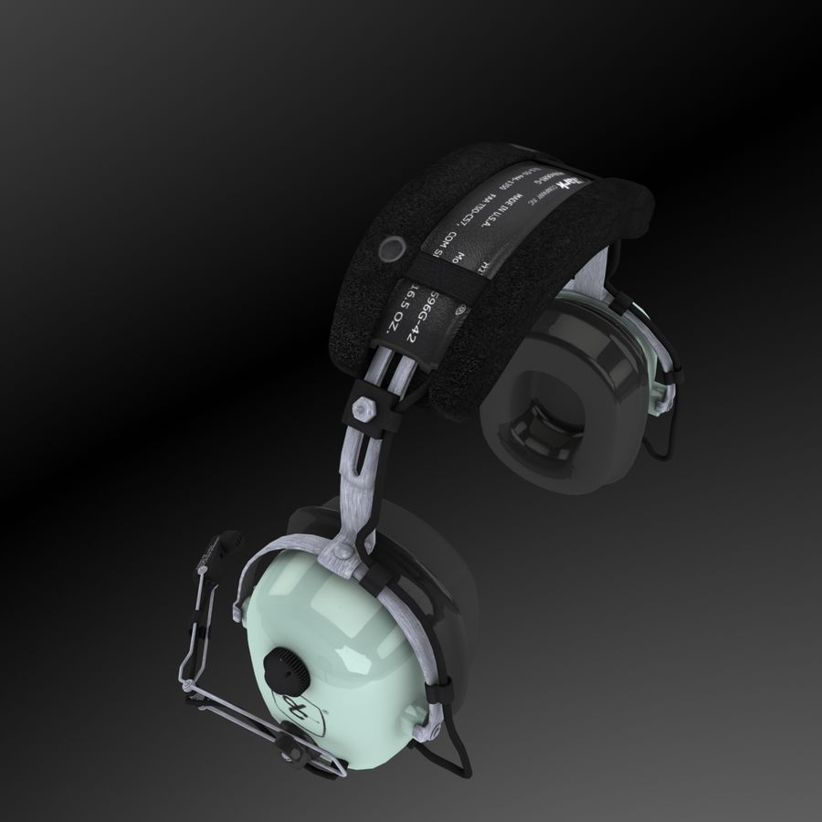David Clark H10-36 Pilots headset royalty-free 3d model - Preview no. 3