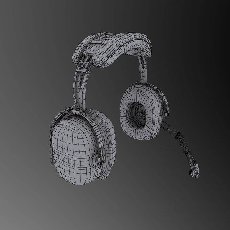 David Clark H10-36 Pilots headset royalty-free 3d model - Preview no. 12