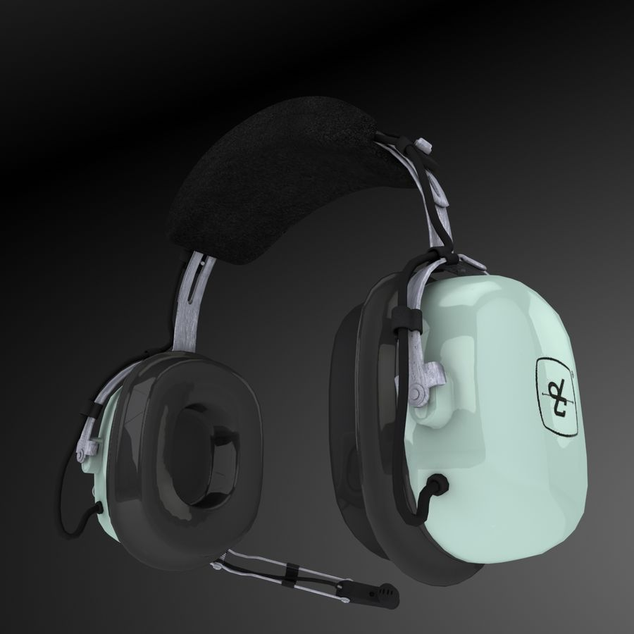 David Clark H10-36 Pilots headset royalty-free 3d model - Preview no. 9