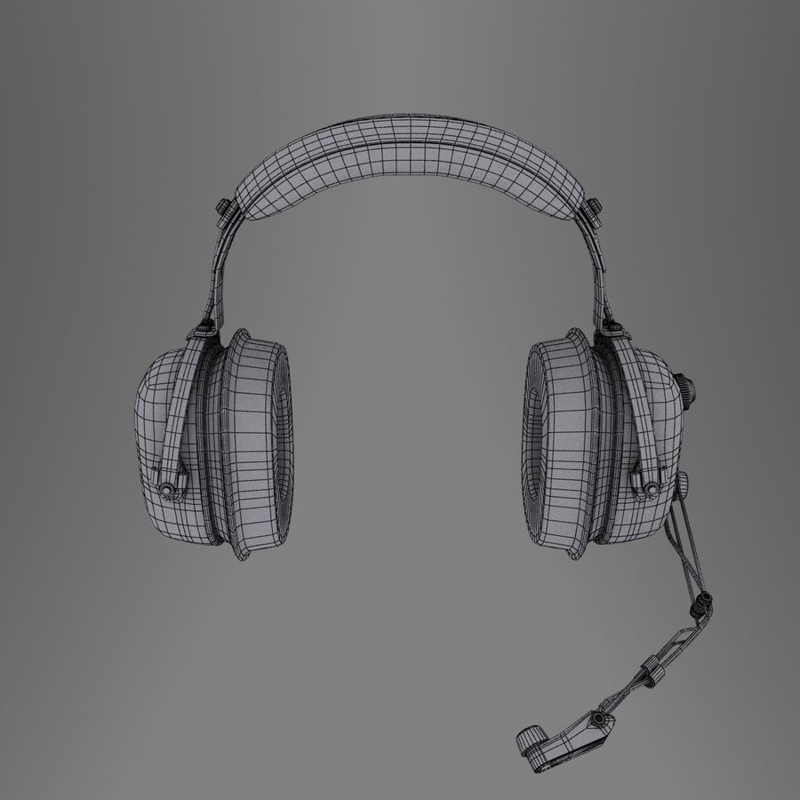 David Clark H10-36 Pilots headset royalty-free 3d model - Preview no. 11
