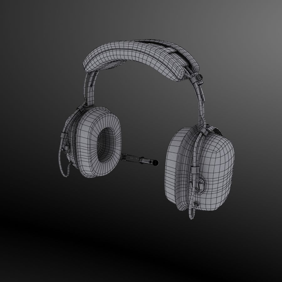 David Clark H10-36 Pilots headset royalty-free 3d model - Preview no. 14