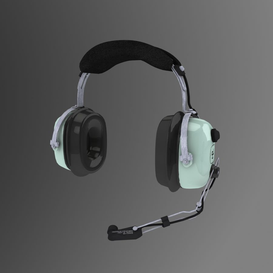 David Clark H10-36 Pilots headset royalty-free 3d model - Preview no. 4